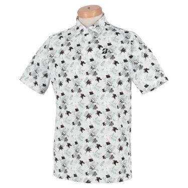 ブリヂストンゴルフ メンズ ボタニカル柄 メッシュ生地 半袖 ポロシャツ TGM05A 2021年モデル ホワイト(WH)