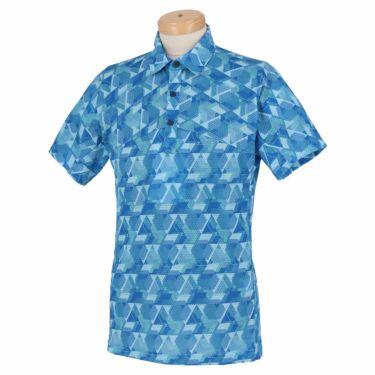 ブリヂストンゴルフ メンズ 幾何学柄 メッシュ生地 半袖 ポロシャツ TGM06A 2021年モデル ブルー(BL)
