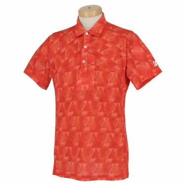 ブリヂストンゴルフ メンズ 幾何学柄 メッシュ生地 半袖 ポロシャツ TGM06A 2021年モデル レッド(RD)