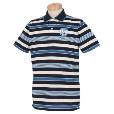 アンパスィ and per se メンズ ロゴプリント 梨地織り ボーダー柄 半袖 ポロシャツ AMS9711Y3 2021年モデル ネイビー(30)