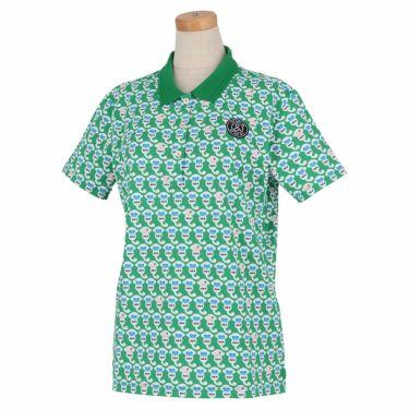 アンパスィ and per se レディース ロゴワッペン 総柄プリント 半袖 ポロシャツ AFS9711P2 2021年モデル グリーン(60)