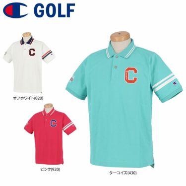 チャンピオンゴルフ ChampionGOLF メンズ ロゴ刺繍 袖ライン 鹿の子 半袖 ポロシャツ C3-TG312 ゴルフウェア 2021年モデル 詳細1