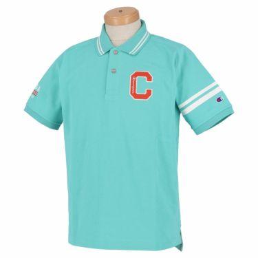 チャンピオンゴルフ ChampionGOLF メンズ ロゴ刺繍 袖ライン 鹿の子 半袖 ポロシャツ C3-TG312 ゴルフウェア 2021年モデル ターコイズ(430)