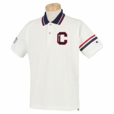 チャンピオンゴルフ ChampionGOLF メンズ ロゴ刺繍 袖ライン 鹿の子 半袖 ポロシャツ C3-TG312 ゴルフウェア 2021年モデル オフホワイト(020)