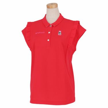アルチビオ archivio レディース ロゴワッペン フレンチスリーブ ポロシャツ A059405 2021年モデル レッド(020)