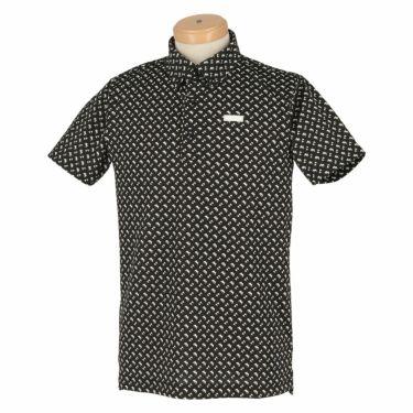 ブラック&ホワイト Black&White ホワイトライン メンズ 総柄 ジオメトリックプリント 半袖 ボタンダウン ポロシャツ BGS9611XX 2021年モデル ブラック×ホワイト(20)