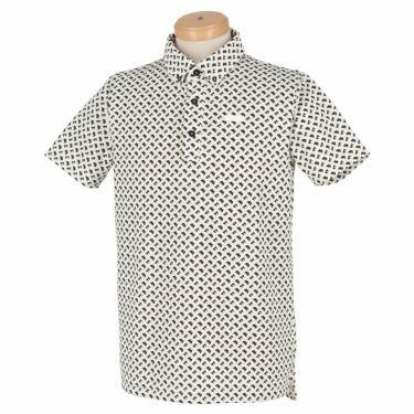 ブラック&ホワイト Black&White ホワイトライン メンズ 総柄 ジオメトリックプリント 半袖 ボタンダウン ポロシャツ BGS9611XX 2021年モデル ホワイト×ブラック(12)