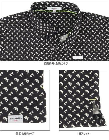 ブラック&ホワイト Black&White ホワイトライン メンズ 総柄 ジオメトリックプリント 半袖 ボタンダウン ポロシャツ BGS9611XX 2021年モデル 詳細4