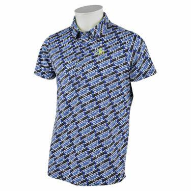 ルコック Le coq sportif メンズ ボックスロゴ 総柄プリント 半袖 ポロシャツ QGMRJA38 2021年モデル ブルー(BL00)