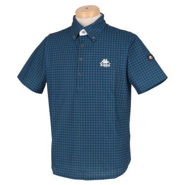カッパ Kappa メンズ ロゴ刺繍 総柄プリント 半袖 ボタンダウン ポロシャツ KGA52SS01 2020年モデル ブルー(BL)