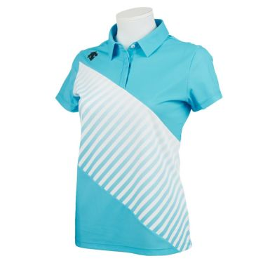 デサントゴルフ JAPAN NATIONAL TEAM プレイングモデル ライジングプリント レディース 半袖 ポロシャツ DGWPJA00OP 2021年モデル サックス(SA00)