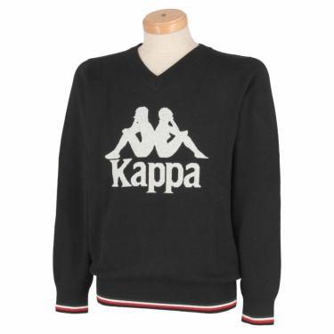 カッパ Kappa メンズ ビッグロゴ 長袖 Vネック セーター KGA52SW04 2020年モデル ブラック(BK)