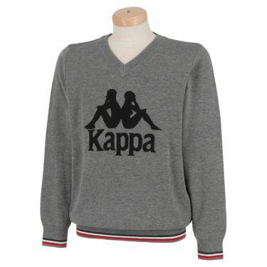 カッパ Kappa メンズ ビッグロゴ 長袖 Vネック セーター KGA52SW04 2020年モデル ヘザーグレー(HEGR)