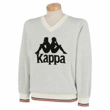 カッパ Kappa メンズ ビッグロゴ 長袖 Vネック セーター KGA52SW04 2020年モデル オフホワイト(OW)