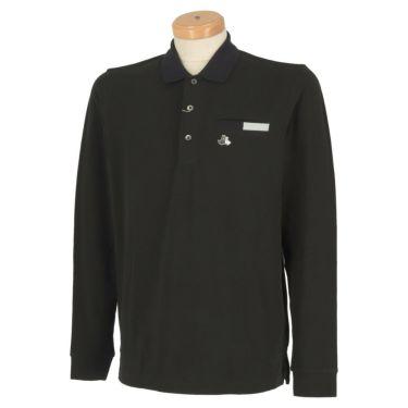 ブラック&ホワイト Black&White メンズ ロゴ刺繍 ストレッチ ポケット付き 長袖 ポロシャツ BGF9210XJ 2020年モデル ブラック(20)