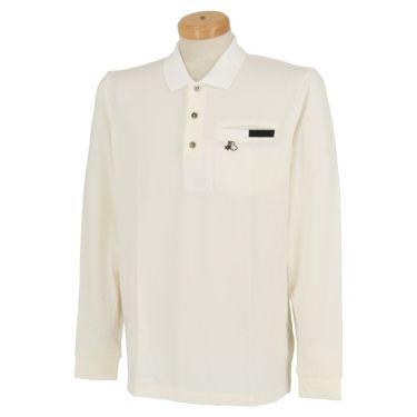 ブラック&ホワイト Black&White メンズ ロゴ刺繍 ストレッチ ポケット付き 長袖 ポロシャツ BGF9210XJ 2020年モデル ホワイト(10)