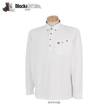 ブラック&ホワイト Black&White メンズ ロゴ刺繍 ワッフル生地 ポケット付き 長袖 ボタンダウン ポロシャツ BGF9300YA 2020年モデル 詳細1