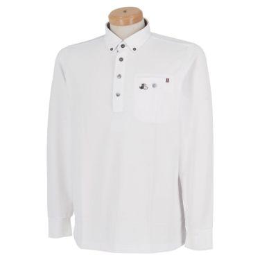 ブラック&ホワイト Black&White メンズ ロゴ刺繍 ワッフル生地 ポケット付き 長袖 ボタンダウン ポロシャツ BGF9300YA 2020年モデル ホワイト(10)