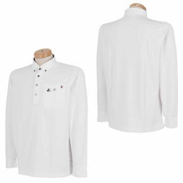 ブラック&ホワイト Black&White メンズ ロゴ刺繍 ワッフル生地 ポケット付き 長袖 ボタンダウン ポロシャツ BGF9300YA 2020年モデル 詳細3
