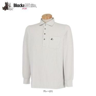 ブラック&ホワイト Black&White メンズ ロゴ刺繍 ポケット付き 長袖 ホリゾンタルカラー ポロシャツ BGF9310XI 2020年モデル 詳細1