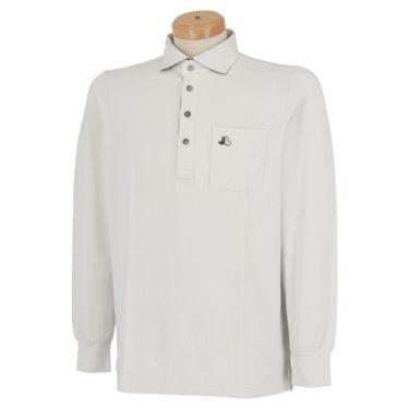 ブラック&ホワイト Black&White メンズ ロゴ刺繍 ポケット付き 長袖 ホリゾンタルカラー ポロシャツ BGF9310XI 2020年モデル グレー(21)
