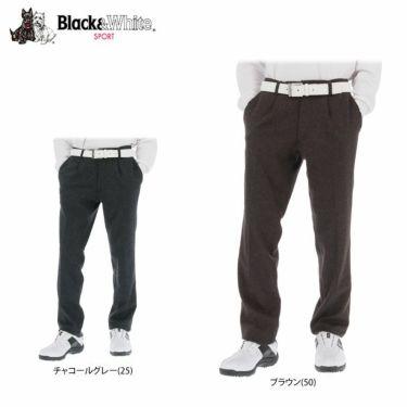 ブラック&ホワイト Black&White メンズ ウール混 ワンタック ストレッチ ロングパンツ BGF5100EE 2020年モデル [裾上げ対応1] 詳細1