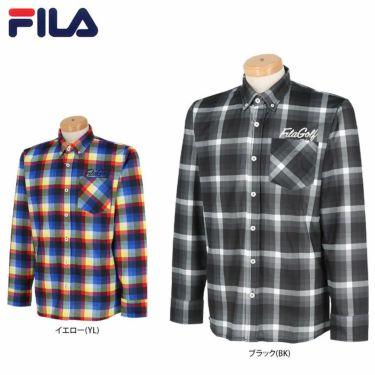 フィラ FILA メンズ 総柄プリント チェック 長袖 ボタンダウン ポロシャツ 780-503 2020年モデル 詳細1