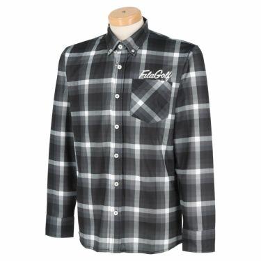フィラ FILA メンズ 総柄プリント チェック 長袖 ボタンダウン ポロシャツ 780-503 2020年モデル ブラック(BK)