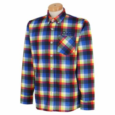 フィラ FILA メンズ 総柄プリント チェック 長袖 ボタンダウン ポロシャツ 780-503 2020年モデル イエロー(YL)