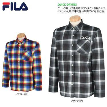 フィラ FILA メンズ 総柄プリント チェック 長袖 ボタンダウン ポロシャツ 780-503 2020年モデル 詳細2