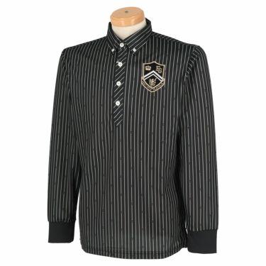 フィラ FILA メンズ ストライプ柄 エンブレム刺繍 長袖 ボタンダウン ポロシャツ 780-505 2020年モデル ブラック(BK)