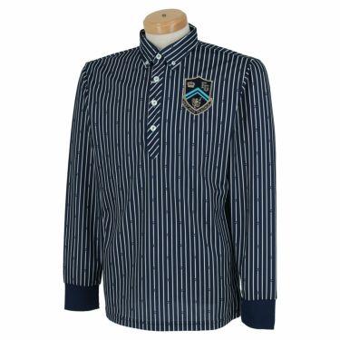 フィラ FILA メンズ ストライプ柄 エンブレム刺繍 長袖 ボタンダウン ポロシャツ 780-505 2020年モデル ネイビー(NV)