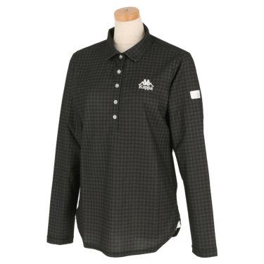 カッパ Kappa レディース 総柄 長袖 ポロシャツ KGA62LS61 2020年モデル ブラック(BK)