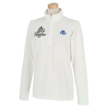 カッパ Kappa レディース ストレッチ レタリング ロゴ刺繍 長袖 ハーフジップシャツ KGA62LS62 2020年モデル ホワイト(WT)