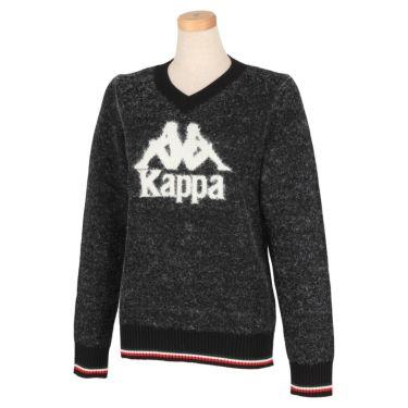 カッパ Kappa レディース ビッグロゴ 長袖 Vネック セーター KGA62SW64 2020年モデル ブラック(BK)