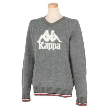 カッパ Kappa レディース ビッグロゴ 長袖 Vネック セーター KGA62SW64 2020年モデル ヘザーグレー(HEGR)