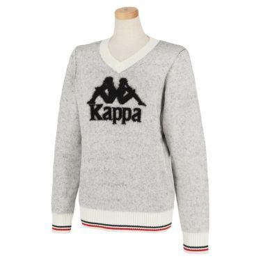 カッパ Kappa レディース ビッグロゴ 長袖 Vネック セーター KGA62SW64 2020年モデル オフホワイト(OW)