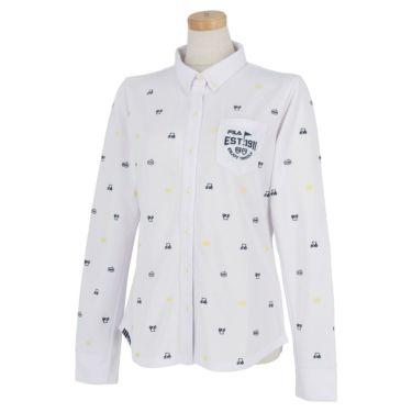 フィラ FILA レディース ロゴ刺繍 飛び柄 長袖 ボタンダウン ポロシャツ 790-504 2020年モデル ホワイト(WT)
