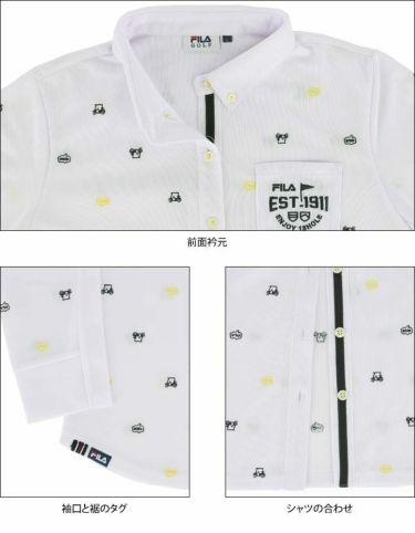 フィラ FILA レディース ロゴ刺繍 飛び柄 長袖 ボタンダウン ポロシャツ 790-504 2020年モデル 詳細3