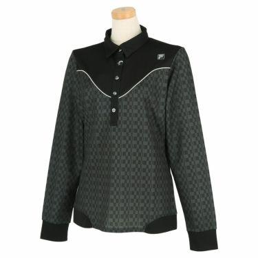 フィラ FILA レディース ロゴプリント チェック柄 生地切替 長袖 ポロシャツ 790-505 2020年モデル ブラック(BK)