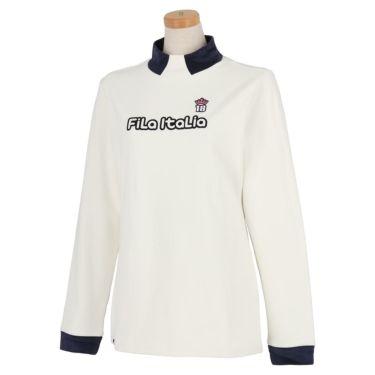 フィラ FILA レディース ロゴデザイン 生地切替 ストレッチ 長袖 ハイネックシャツ 790-506 2020年モデル ホワイト(WT)