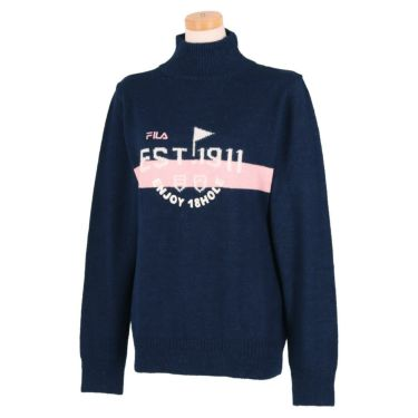 フィラ FILA レディース ロゴ刺繍 ジャガード 長袖 ハイネック セーター 790-701 2020年モデル ネイビー(NV)