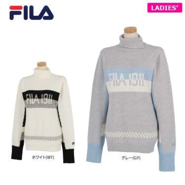 フィラ FILA レディース ロゴジャガード 配色切替 長袖 タートルネック セーター 790-705 2020年モデル 詳細1