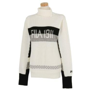 フィラ FILA レディース ロゴジャガード 配色切替 長袖 タートルネック セーター 790-705 2020年モデル ホワイト(WT)