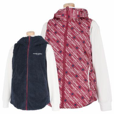 マリクレール marie claire レディース リバーシブル 総柄 中綿 フード付き フルジップ ベスト 730-207 2020年モデル ワインレッド(WIN)