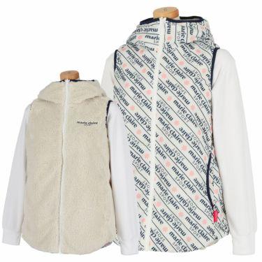 マリクレール marie claire レディース リバーシブル 総柄 中綿 フード付き フルジップ ベスト 730-207 2020年モデル オフホワイト(OWT)