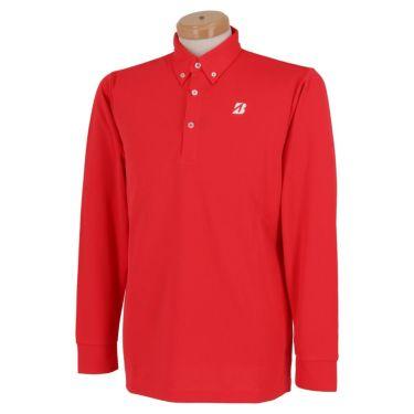 ブリヂストンゴルフ TOUR B メンズ ロゴプリント ヘリンボーン柄 長袖 ボタンダウン ポロシャツ SGM01F 2020年モデル  スカーレット(SC)
