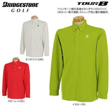 ブリヂストンゴルフ TOUR B メンズ ロゴプリント ヘリンボーン柄 長袖 ボタンダウン ポロシャツ SGM01F 2020年モデル  詳細2