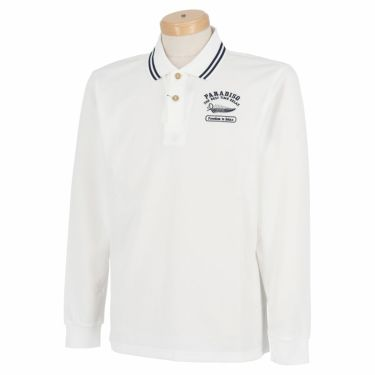パラディーゾ Paradiso メンズ ロゴモチーフ刺繍 長袖 ポロシャツ SSM01F 2020年モデル オフホワイト(OW)