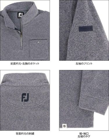 フットジョイ FootJoy メンズ ポケット付き フリース 長袖 ハーフジップ プルオーバー FJ-F20-M01 2020年モデル 詳細4